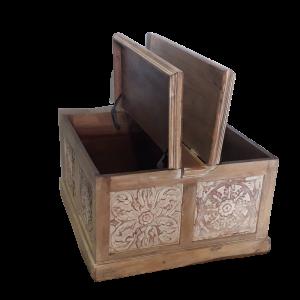 Tavolino da salotto / baule in legno di mango brown wash con intaglio white