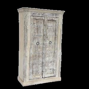 Credenza alta / Armadio in legno di mango decapato bianco con ante portale in legno di teak