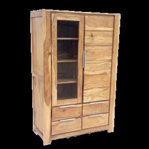 Credenza alta con anta vetro e 4 cassetti in legno di sheesham naturale