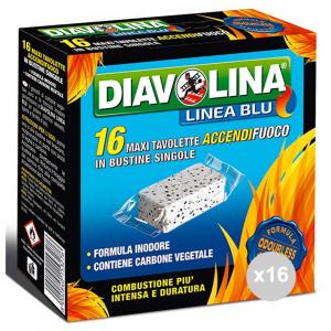 Set 16 DIAVOLINA Linea blu accendifuoco inodore 16 maxi lignite bustine singole