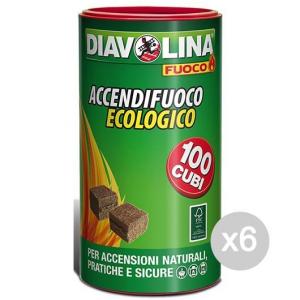 Set 6 DIAVOLINA Accendifuoco X 100 Vaso Ecologica Per Barbecue E Camino