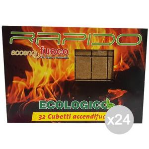 Set 24 Accendifuoco Rapido 32 Cubi Ecologico Per Barbecue E Camino
