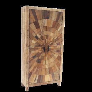 Credenza alta / Armadio in legno di mango con ante mosaico in legno di teak recuperato