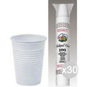 Set 30 ARISTEA 100 Bicchiere 200 Cc Bianchi Dopla Accessorio Per La Cucina E La Tavola