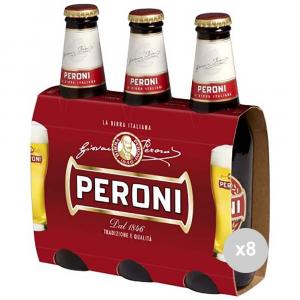 Set 8 PERONI Birra in bottiglia 33x3 vetro bevanda alcolica da tavola