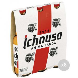 Set 8 ICHNUSA Birra in bottiglia 33x3 vetro bevanda alcolica da tavola