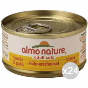 Set 24 ALMO NATURE Gatto 5017 Lattina 70 Coscia Di Pollo Cibo Per Gatti