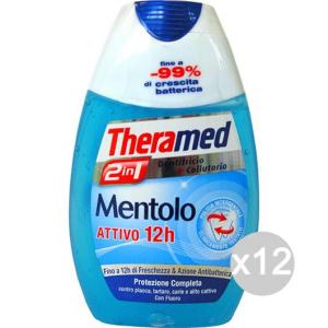 Set 12 THERAMED Dentifricio +Colluttorio 2In1 Menta Igiene E Cura Dei Denti