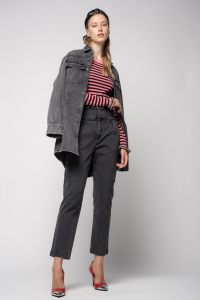 SHOPPING ON LINE PINKO JEANS BUSTIER IN DENIM COMFORT BLACK ARIEL16  NEW COLLECTION WOMEN'S FALL/WINTER 2022