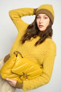Maglione Asciutto in misto alpaca giallo Pinko