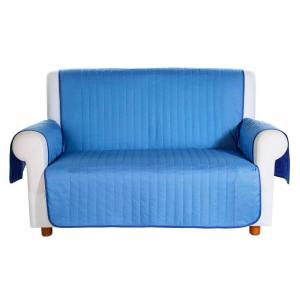 Copridivano trapuntato Caleffi Bicolor in cotone 2 posti blu