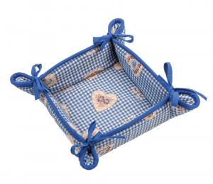 Cestino Portapane Tirolese Galtex Style collezione St. Moritz Blu misure 20x20x7,5