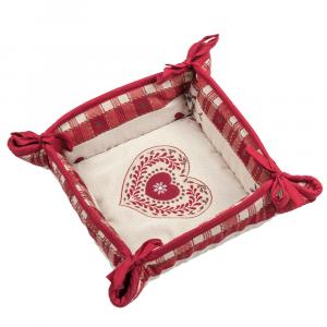 Cestino Portapane Tirolese Galtex Style collezione Val Badia Rosso misure 20x20x7,5