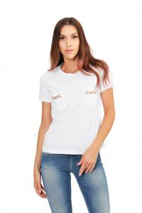 T-shirt Girocollo con Morsetti Oro