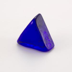 Blocco mini mattone in vetro di forma triangolare blu trasparente