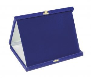 Porta targa in velluto blu
