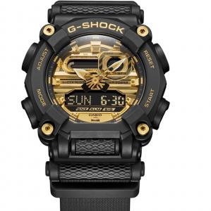 Casio G-Shock, orologio digitale multifunzione, cassa nera, particolari oro
