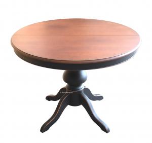 Table à manger ronde 120 cm - Bicolore noir et merisier mat