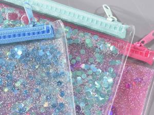 Astuccio trasparente con paillettes e glitter galleggianti