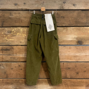 Pantalone Amish Supplies Cargo Army Velluto A Coste Verde Militare