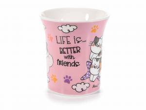 Confezione 2 tazze di porcellana decorata con gattini