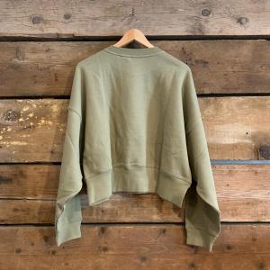 Felpa Adidas Sweatshirt Girocollo Verde Oliva Cropped