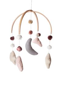 Giostrina per culla lavorata a maglia Nuvola e Pompom Bamboom Rosa
