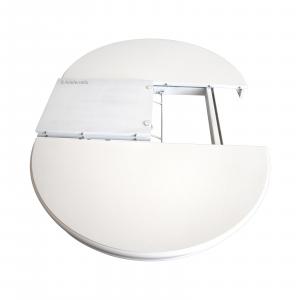 Mesa redonda laqueada blanca extensible estilo Luis Felipe 120 cm