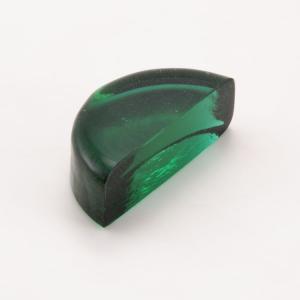 Blocco mini mattone di forma mezza luna in vetro verde trasparente