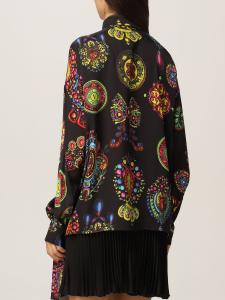 Camicia nera con stampa colorata di Versace Jeans Couture
