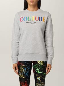 Felpa grigia con logo colorato di Versace Jeans Couture