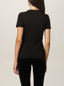 T-shirt nera con logo lurex di Versace Jeans Couture