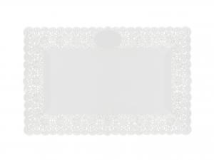 3 Vassoi Trinati Bianco Rettangolare 40x26 052a