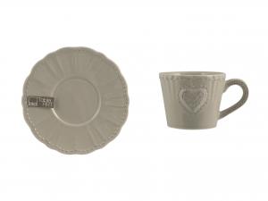 Tazzina Con Piattino In Stoneware, 100 Ml, Grigio Caldo