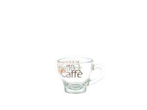 TAZZA CAFFE' SENZA PIATTO IN VETRO DECORO MIX