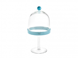 H&h Alzata Vetro Con Cupola Blue Cm14 H30 Vassoi Da Tavola