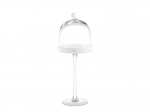 H&h Alzata Vetro Con Cupola White Cm14 H40 Vassoi Da Tavola