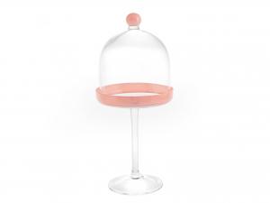 H&h Alzata Vetro Con Cupola Pink Cm14 H35 Vassoi Da Tavola