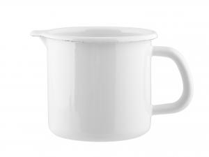 Pignatto Smalto Con Bordo Bianco Latte Cm 10