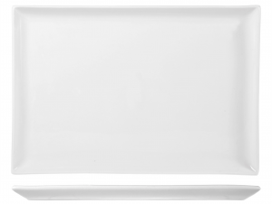 Piatto In Porcellana Bianco Rettangolare Cm28x40xh2 B1743