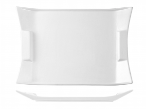 Piatto Rettangolare In Porcellana, 35,5x25 Cm, Bianco