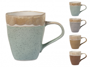 4 Mug In Stoneware Malika Colore Assortiti Cc370
