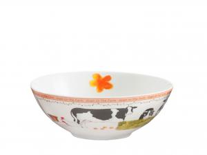 H&H Farm Set 4 Tazze Bolo, Porcellana, Decori Assortiti