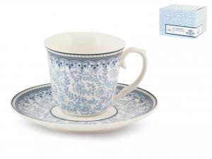 H&h Set 2 Tazze Caffe Porcellana Blue Dream Con Piattino