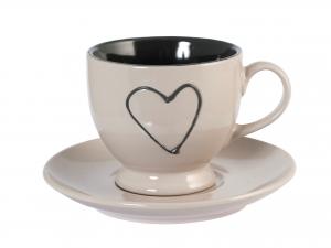 H&h Confezione 4 Tazzine Tè Stoneware Cuore Con Piatto Assor