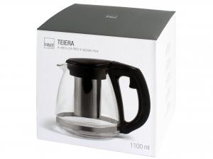 H&h Teiera In Vetro Con Filtro In Acciaio Inox 18/10, Lt 1,1