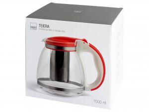 H&h Teiera In Vetro Con Filtro In Acciaio Inox 18/10, Lt 1,5
