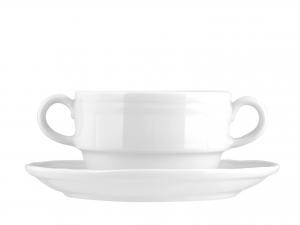 Tazza A 2 Manici Con Piattino In Porcellana, 220 Ml, Bianco
