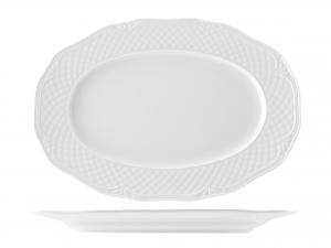 Piatto In Porcellana Arianna Bianco Ovale Cm33