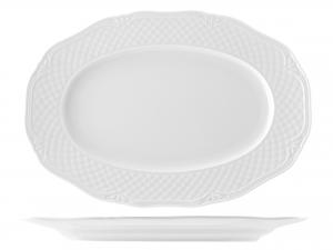 Piatto In Porcellana Arianna Bianco Ovale Cm38